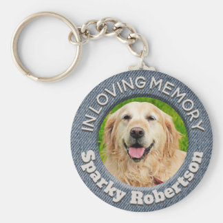 Custom Dog Memorial Blue Jean Background Key Ring