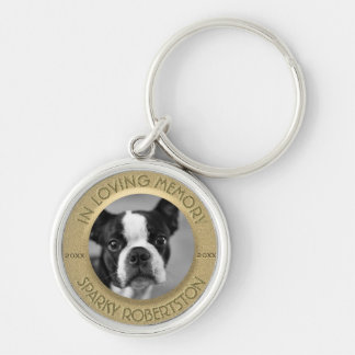 Custom Dog Memorial Silver-Colored Round Key Ring
