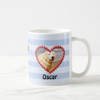 Custom dog photo paw prints memory blue coffee mug