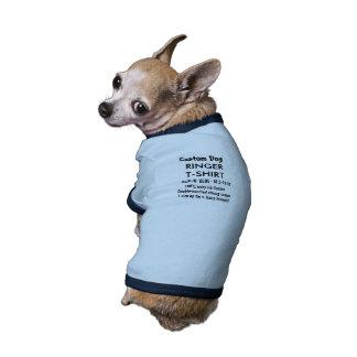 Custom Dog Ringer T-shirt BLUE S 5-10 lb dogs Ringer Dog Shirt