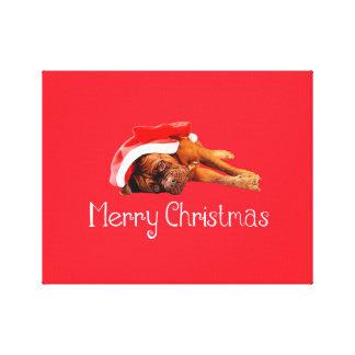 Custom Dogue De Bordeaux Santa Hat Merry Christmas Canvas Print