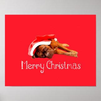Custom Dogue De Bordeaux Santa Hat Merry Christmas Poster