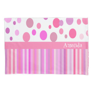 Custom dots and stripes pillowcase