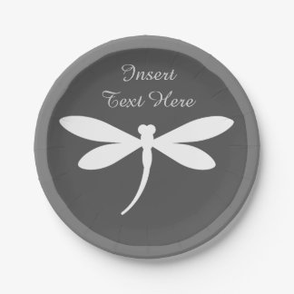 Custom Dragonfly Paper Plates - Monogram or Text