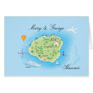 Custom Drawn Wedding Map - Consult Artist Greeting Card
