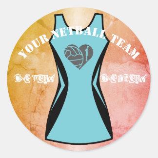 Custom Dress Colour and Netball Team Slogan Classic Round Sticker