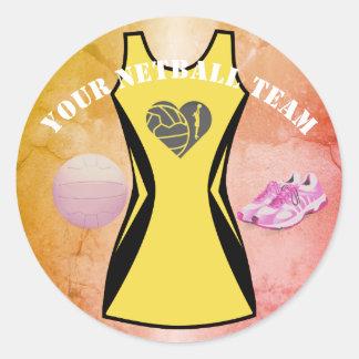 Custom Dress Colour Personalised Netball Team Classic Round Sticker