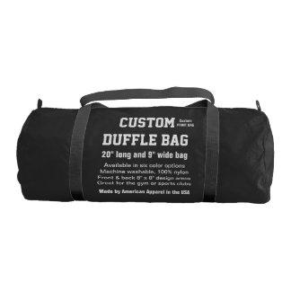 """Custom Duffle Bag BLACK Gym, Sports, Club 20"""" x 9"""" Gym Duffel Bag"""