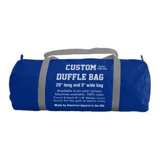 """Custom Duffle Bag BLUE Gym, Sports, Club 20"""" x 9"""" Gym Duffel Bag"""