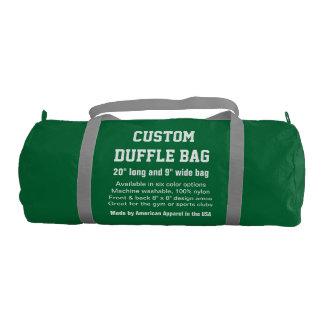 """Custom Duffle Bag GREEN Gym, Sports, Club 20"""" x 9"""" Gym Duffel Bag"""