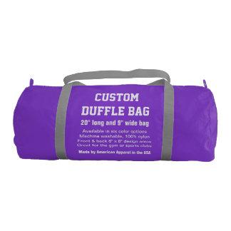 "Custom Duffle Bag PURPLE Gym, Sports Club 20"" x 9"" Gym Duffel Bag"