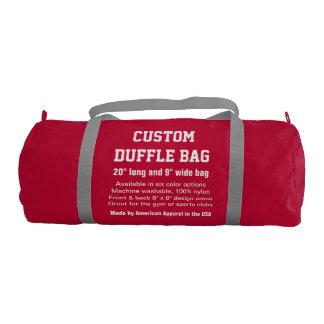"""Custom Duffle Bag RED Gym, Sports, Club 20"""" x 9"""" Gym Duffel Bag"""