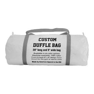 "Custom Duffle Bag WHITE Gym, Sports, Club 20"" x 9"" Gym Duffel Bag"