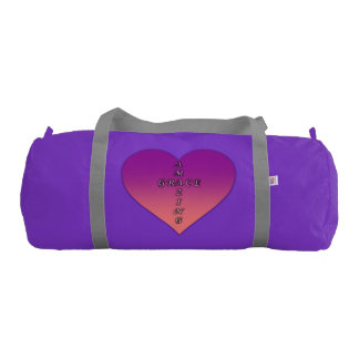 Custom Duffle Gym Bag, Purple with Silver straps Gym Bag