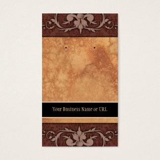 Custom Earring Cards Brown Vintage Damask