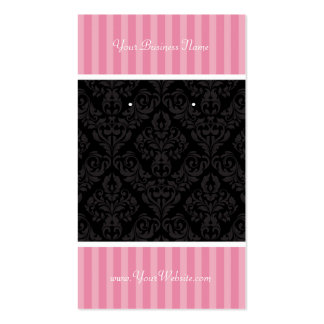 Custom Earring Cards Pink Black Damask Stripes Double-Sided Standard Business Cards (Pack Of 100)