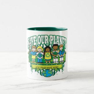 Custom Earth Kids, ADD YOUR NAME! Two-Tone Coffee Mug