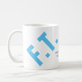 Custom elegant and minimal light blue initials… basic white mug