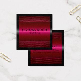 Custom Elegant Burgundy Stainless Metal Square Business Card