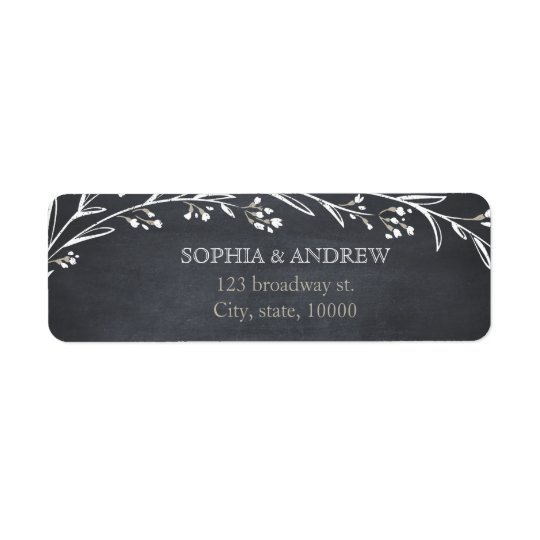Custom elegant floral chalkboard rustic wedding return address label