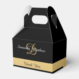 Custom Elegant Gold Black Color Monogram Initials Favour Box