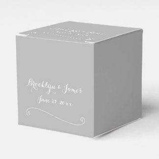 Custom Elegant Grey White Wedding Favor Boxes