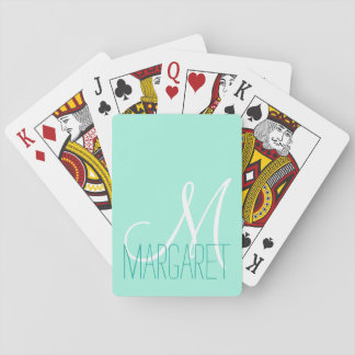Custom Elegant Mint Green Monogram Playing Cards