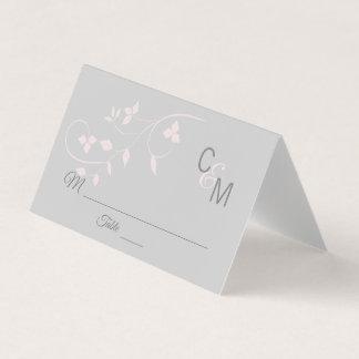 Custom Elegant Monogram Blush Pink Grey Wedding Place Card