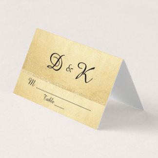 Custom Elegant Monogram Gold Glitter Wedding Place Card