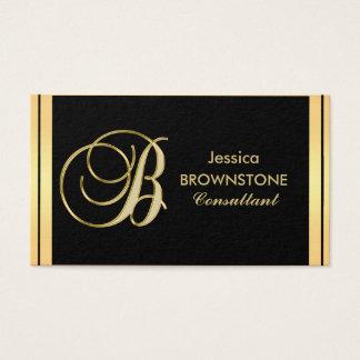Custom Elegant Monogrammed Gold Black Letter 'B' Business Card