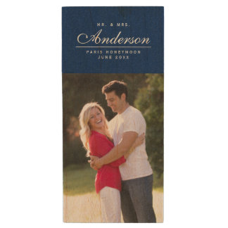Custom Elegant Mr and Mrs Family Name Photo Wood USB Flash Drive
