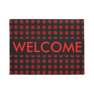 Custom Elegant Red Black circle Pattrn Welcome Doormat