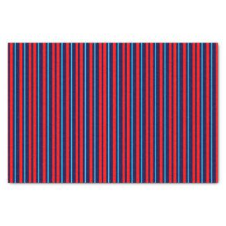 Custom Elegant Red Sky Blue Navy Blue Stripe Line Tissue Paper