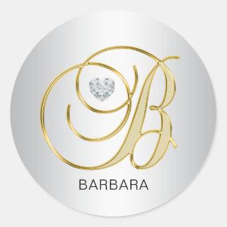 Custom Elegant Silver Gold Monogrammed Initial B Classic Round Sticker