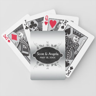 Custom Elegant Silver Wedding Monogram Names Date Bicycle Playing Cards