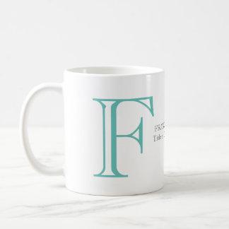 Custom elegant stylish minimal turquoise initials… basic white mug