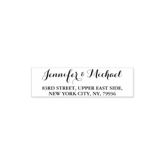 Custom Elegant Stylish Name Return Address Wedding Self-inking Stamp