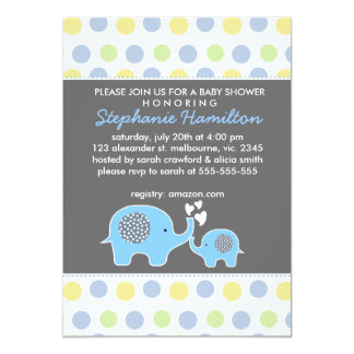 Custom elephant polka dots baby boy shower card