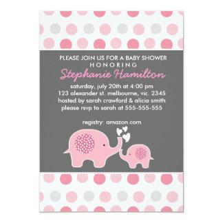 Custom elephant polka dots baby girl shower card