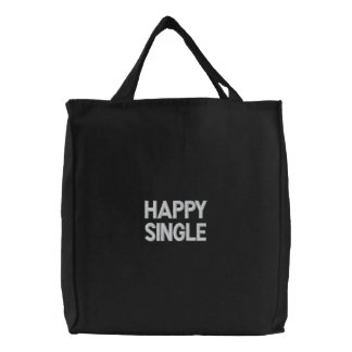 Custom Embroidered Bag, Happy Single, Quote Love Embroidered Tote Bag