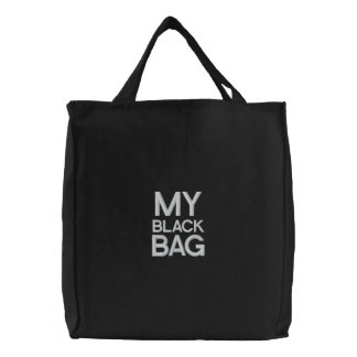 Custom Embroidered Bag, My Black Bag, Quote Color Embroidered Bags
