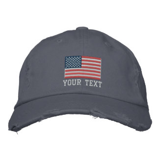 Custom embroidered hats with American flag logo