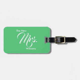 Custom Emerald Green The New Mrs. Luggage Tag