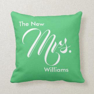 Custom Emerald Green The New Mrs. Throw Pillow
