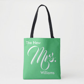 Custom Emerald Green The New Mrs. Tote Bag