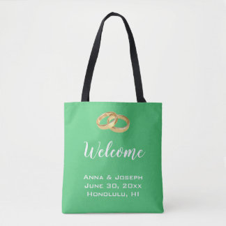 Custom Emerald Green Wedding Welcome Tote Bag