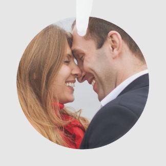 Custom Engaged Couple Photo Holiday Ornament