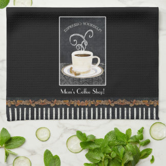 Custom Espresso Coffee Chalkboard Kitchen Decor Tea Towel