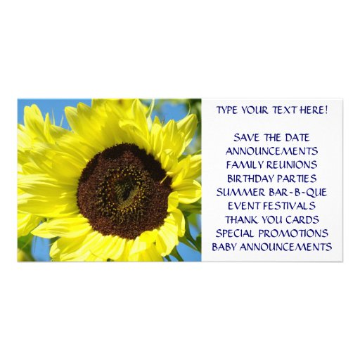 CUSTOM Event Announcement Cards Sunflowers Personalized Photo Card