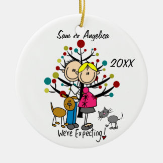 Custom Expectant Couple With Cat and Dog Ornament